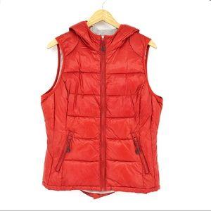 Tangerine Hooded Puffer Vest